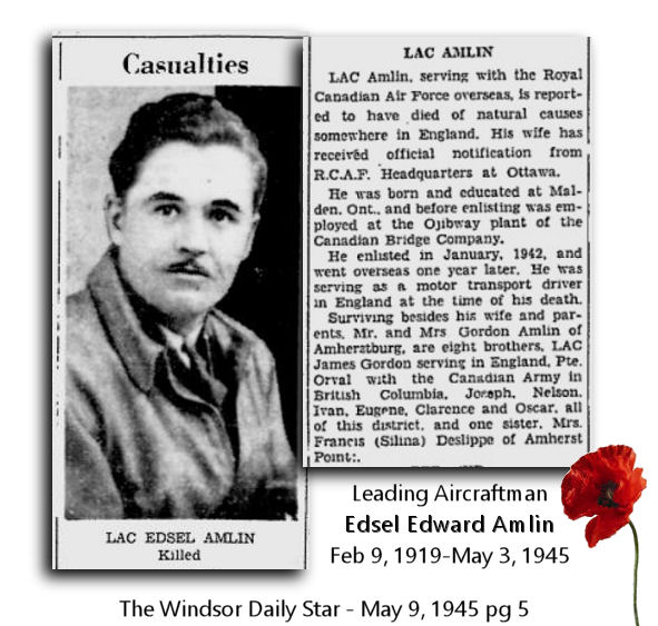 Newspaper Clipping– Remembering Leading Aircraftman EDSEL EDWARD AMLIN (photo source: The Windsor Daily Star)