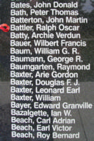 Memorial– Pilot Officer Ralph Oscar Battler is also commemorated on the Bomber Command Memorial Wall in Nanton, AB … photo courtesy of Marg Liessens