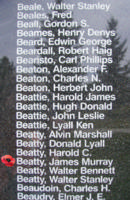 Memorial– Flight Sergeant James Murray Beatty is also commemorated on the Bomber Command Memorial Wall in Nanton, AB … photo courtesy of Marg Liessens