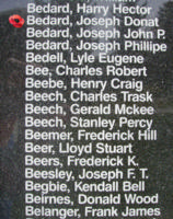 Memorial– Leading Aircraftman Joseph Donat Marcel Bedard is also commemorated on the Bomber Command Memorial Wall in Nanton, AB … photo courtesy of Marg Liessens