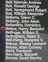 Memorial– Sergeant Henry Benedict Bellew is also commemorated on the Bomber Command Memorial Wall in Nanton, AB … photo courtesy of Marg Liessens
