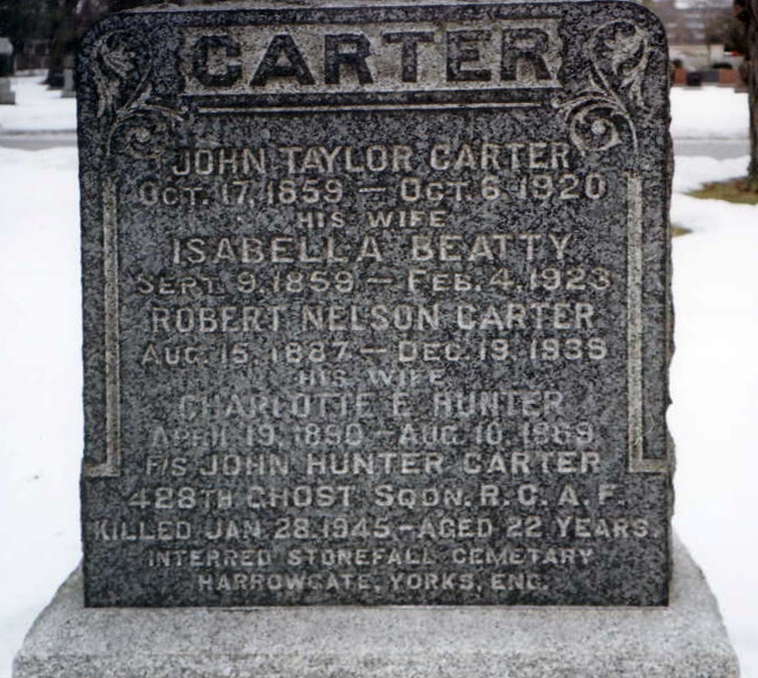 Grave Marker– Carter, John Hunter Family Gravestone in Brampton Cemetery