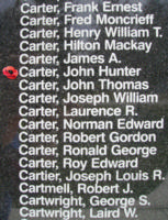 Memorial– Flight Sergeant John Hunter Carter is also commemorated on the Bomber Command Memorial Wall in Nanton, AB … photo courtesy of Marg Liessens