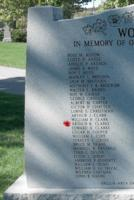 Memorial– Pilot Officer Arthur Kenneth Clarke is also commemorated on the WWII Memorial in Orillia, ON … photo courtesy of Marg Liessens