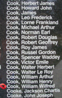 Memorial– Flying Officer William Wilfred Cook is also commemorated on the Bomber Command Memorial Wall in Nanton, AB … photo courtesy of Marg Liessens