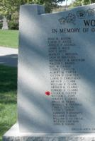 Memorial– Pilot Officer Edgar Harvey Cooper is also commemorated on the WWII Memorial in Orillia, ON … photo courtesy of Marg Liessens