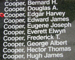 Memorial– Pilot Officer Edgar Harvey Cooper is also commemorated on the Bomber Command Memorial Wall in Nanton, AB … photo courtesy of Marg Liessens