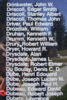 Memorial– Flying Officer Robert Joseph Dubeau is also commemorated on the Bomber Command Memorial Wall in Nanton, AB … photo courtesy of Marg Liessens