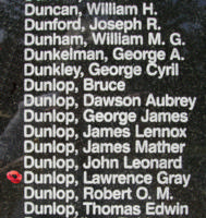 Memorial– Flying Officer Lawrence Gay Dunlop is also commemorated on the Bomber Command Memorial Wall in Nanton, AB … photo courtesy of Marg Liessens