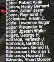 Memorial– Flight Sergeant Arthur Jason Eberle is also commemorated on the Bomber Command Memorial Wall in Nanton, AB … photo courtesy of Marg Liessens