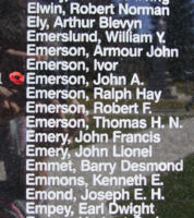 Memorial– Flight Sergeant John Alexander Emerson is also commemorated on the Bomber Command Memorial Wall in Nanton, AB … photo courtesy of Marg Liessens