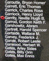 Memorial– Sergeant Neville Hugh Banning Garrity is also commemorated on the Bomber Command Memorial Wall in Nanton, AB … photo courtesy of Marg Liessens