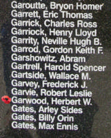 Memorial– Flying Officer Herbert William Garwood is also commemorated on the Bomber Command Memorial Wall in Nanton, AB … photo courtesy of Marg Liessens