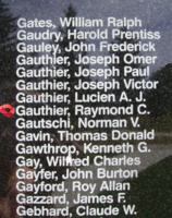 Memorial– Pilot Officer Raymond Charles Gauthier is also commemorated on the Bomber Command Memorial Wall in Nanton, AB … photo courtesy of Marg Liessens