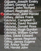 Memorial– Sergeant John Harold Gilbertson is also commemorated on the Bomber Command Memorial Wall in Nanton, AB … photo courtesy of Marg Liessens