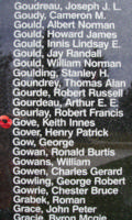 Memorial– Flight Sergeant Keith Innes Gove is also commemorated on the Bomber Command Memorial Wall in Nanton, AB … photo courtesy of Marg Liessens