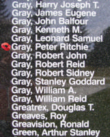 Memorial– Flight Sergeant Peter Ritchie Gray is also commemorated on the Bomber Command Memorial Wall in Nanton, AB … photo courtesy of Marg Liessens