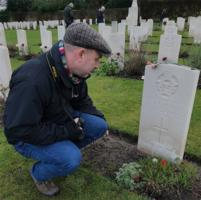 Paying respects– Mr P R Gray paying respects at Christmas 2019 to Flt Sgt P R Gray in Stonefall CWGC Cemetery Harrogate.