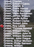 Memorial– Flight Sergeant Roy Leslie Green is also commemorated on the Bomber Command Memorial Wall in Nanton, AB … photo courtesy of Marg Liessens