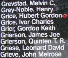 Memorial– Warrant Officer Class II Hubert Gordon Grice is also commemorated on the Bomber Command Memorial Wall in Nanton, AB … photo courtesy of Marg Liessens