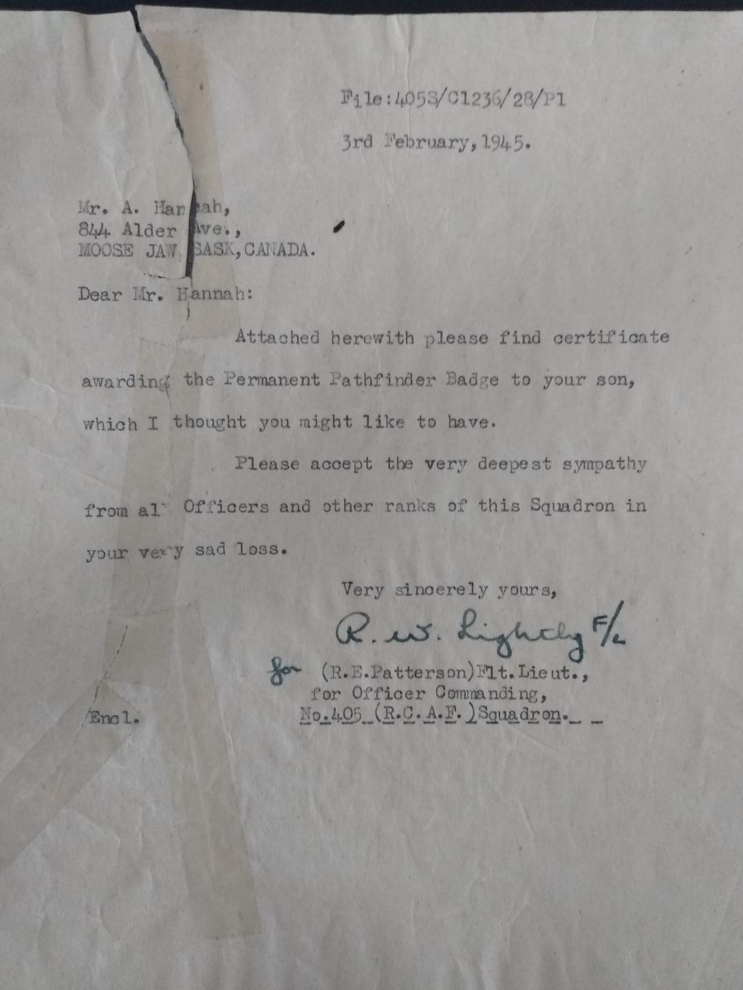 Letter– Letter to Harold Hannah's father, concerning the permanent path finder certification.