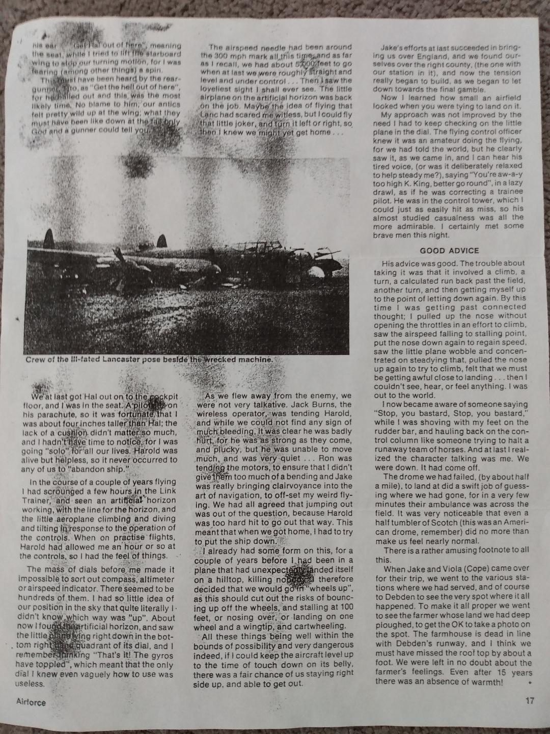"""Newspaper clipping– Part 2 of an article from """"Airforce"""", describing the crash landing of Harold Hannah's plane, PB413."""