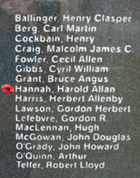 Memorial– Flying Officer Harold Allan Hannah is also commemorated on the Bomber Command Memorial Wall in Nanton, AB … photo courtesy of Marg Liessens