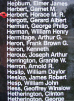 Memorial– Pilot Officer Horace Montague Richard Herbert is also commemorated on the Bomber Command Memorial Wall in Nanton, AB … photo courtesy of Marg Liessens