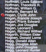 Memorial– Pilot Officer Clyde John Hogan is also commemorated on the Bomber Command Memorial Wall in Nanton, AB … photo courtesy of Marg Liessens