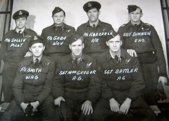 Group Photo– This crew was killed when their Halifax III NA-190 coded PT-U iced up and crashed shortly after take-off near Tadcaster, Yorkshire on March 5, 1945 while on operations to Chemnitz. Sgt MacGregor was absent on this trip,  and was subbed by Sgt J. H. Waugh RCAF DFM, who was the only crew member able to bail out safely before the crash. http://www.6bombergroup.ca/420Crews/pages/420SollieRFCrew.html
