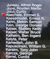 Memorial– Flying Officer Emmet Solomon Kaechele is also commemorated on the Bomber Command Memorial Wall in Nanton, AB … photo courtesy of Marg Liessens