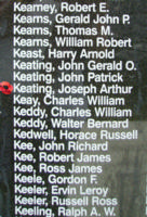 Memorial– Pilot Officer Joseph Arthur Keating is also commemorated on the Bomber Command Memorial Wall in Nanton, AB … photo courtesy of Marg Liessens