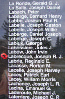 Memorial– Pilot Officer Joseph Rosaire Jean Charles Labrecque is also commemorated on the Bomber Command Memorial Wall in Nanton, AB … photo courtesy of Marg Liessens