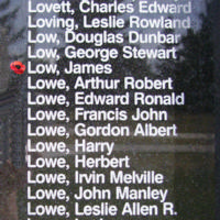 Memorial– Flying Officer James Low is also commemorated on the Bomber Command Memorial Wall in Nanton, AB … photo courtesy of Marg Liessens