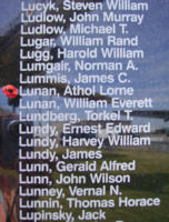 Memorial– Sergeant Athol Lorne Lunan is also commemorated on the Bomber Command Memorial Wall in Nanton, AB … photo courtesy of Marg Liessens