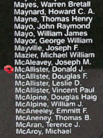 Memorial– Flight Sergeant Donald James Mcallister is also commemorated on the Bomber Command Memorial Wall in Nanton, AB … photo courtesy of Marg Liessens