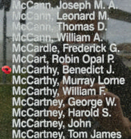 Memorial– Pilot Officer Benedict Joseph McCarthy is also commemorated on the Bomber Command Memorial Wall in Nanton, AB … photo courtesy of Marg Liessens