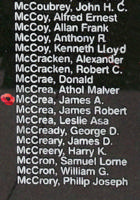 Memorial– Flying Officer James Alexander McCrea is also commemorated on the Bomber Command Memorial Wall in Nanton, AB … photo courtesy of Marg Liessens