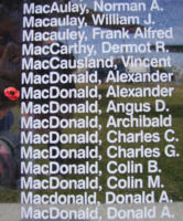 Memorial– Warrant Officer Class II Alexander Hugh MacDonald is also commemorated on the Bomber Command Memorial Wall in Nanton, AB … photo courtesy of Marg Liessens