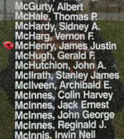 Memorial– Flying Officer James Justin McHenry is also commemorated on the Bomber Command Memorial Wall in Nanton, AB … photo courtesy of Marg Liessens