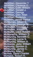 Memorial– Flying Officer Donald James McMillan is also commemorated on the Bomber Command Memorial Wall in Nanton, AB … photo courtesy of Marg Liessens