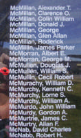 Memorial– Pilot Officer William Stuart McMullen is also commemorated on the Bomber Command Memorial Wall in Nanton, AB … photo courtesy of Marg Liessens