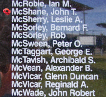 Memorial– Pilot Officer John Thomas McShane is also commemorated on the Bomber Command Memorial Wall in Nanton, AB … photo courtesy of Marg Liessens