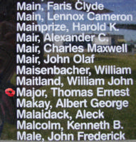 Memorial– Flying Officer Thomas Ernest Major is also commemorated on the Bomber Command Memorial Wall in Nanton, AB … photo courtesy of Marg Liessens