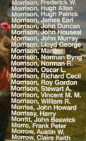 Memorial– Flight Sergeant John Duncan Morrison is also commemorated on the Bomber Command Memorial Wall in Nanton, AB … photo courtesy of Marg Liessens