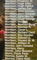 Memorial– Sergeant Richard Cecil Morrison is also commemorated on the Bomber Command Memorial Wall in Nanton, AB … photo courtesy of Marg Liessens