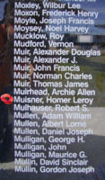 Memorial– Flight Sergeant Homer Leroy Muisiner as commemorated on the Bomber Command Memorial Wall in Nanton, AB … photo courtesy of Marg Liessens