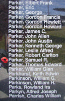 Memorial– Flight Sergeant Samuel Rutherford Parker is commemorated on the Bomber Command Memorial Wall in Nanton, AB … photo courtesy of Marg Liessens