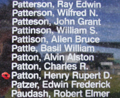 Memorial– Pilot Officer Henry Rupert Dunstan Patton is also commemorated on the Bomber Command Memorial Wall in Nanton, AB … photo courtesy of Marg Liessens