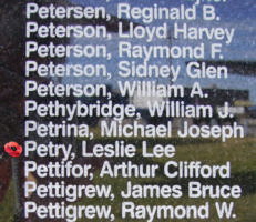 Memorial– Flight Sergeant Leslie Lee Petry is commemorated on the Bomber Command Memorial Wall in Nanton, AB … photo courtesy of Marg Liessens